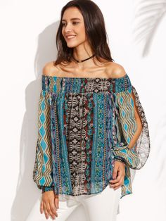 Shop Multicolor Print Off The Shoulder Split Sleeve Blouse online. SheIn offers Multicolor Print Off The Shoulder Split Sleeve Blouse & more to fit your fashionable needs. Fashion 2017, Boho Fashion, Fashion Outfits, Red Blouses, Blouses For Women, Chiffon Blouses, Vetement Fashion, Bohemian Mode, Boho Chic