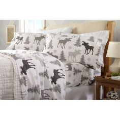 Flannel Sheet Set Cotton Winter Bedding Queen Guest Room Bedding Fitted Sheets for sale online Moose Decor, Bear Decor, Winter Bedding, Winter Bedroom Decor, Girls Bedroom Colors, Cotton Sheet Sets, Cabin Homes, Bed Sheets, Fitted Sheets