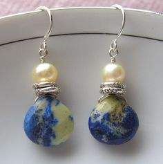 soft butter-yellow pearl nuggets, natural lapis