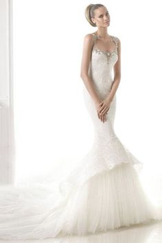 Sexy Fishtail Rhinestone Wedding Dress 2017 New Words One Word Shoulder Lace Big Tail TN0035