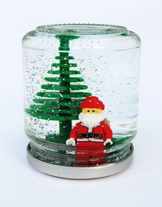 Lego snowglobes - add tacky glue to slow the glitter