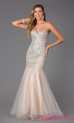 Prom Dresses, Plus Size Dresses, Prom Shoes -PromGirl : Floor Length Strapless Sweetheart Jewel Embellished Dress