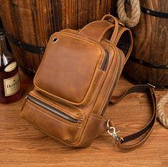 Vintage Leather Sling Backpack for Men Leather Bags, Cow Leather, Vintage Leather, Vintage Men, Leather Backpack, Camera Backpack, Sling Backpack, Fashion Updates, Sport Casual