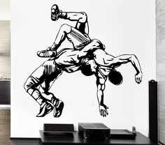 Wall Decal Sport Athletes Sparring Fight Shooting Wrestling Vinyl Decal (ed360)