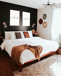 Mid Century Modern Bedroom Design Ideas « Home Decoration - Home Design Dream Bedroom, Home Bedroom, Black Master Bedroom, Master Suite, White And Brown Bedroom, Master Bedroom Design, Bedroom Inspo, Bedroom With White Walls, Grey Brown Bedrooms
