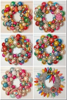vintage christmas ornament wreath. Great idea for all those old ornaments I got when my Grandma passed away but no room on my tree for them!