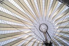 Berlin architecture Photography: Sony Center, inside Potsdamer Platz, architect: Renzo Piano. Original architecture structure.