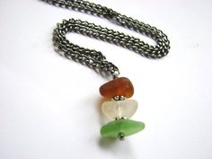 Stacked Seaglass Necklace Gunmetal Chain with by BitsOffTheBeach,