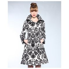 Desigual Abrigal Black And White Print Coat ($130) found on Polyvore featuring outerwear, coats, floral print coat, floral coat, desigual coat, black white coat and desigual