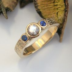 White sapphire and blue Sapphire ring unique wicker textured finger band Blue Sapphire Rings, White Sapphire, Gold And Silver Rings, Silver Jewelry, Finger Band, Bespoke Jewellery, Bronze Sculpture, Unique Rings, Metal Working