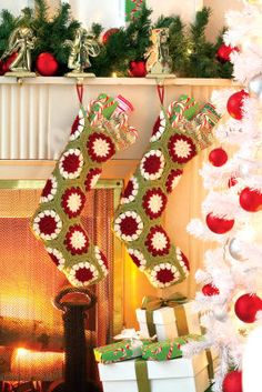 Loops and Threads® Impeccable™ Crochet Christmas Stockings, large