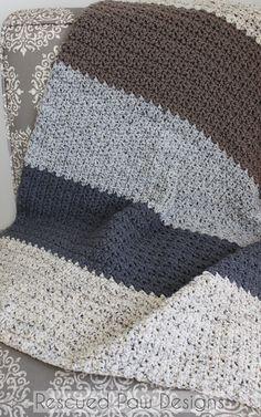 Neutral Striped Crochet Blanket Pattern by Rescued Paw Designs Afghan Crochet Patterns, Crochet Stitches, Pdf Patterns, Crochet Afghans, Baby Afghans, Easy Crochet Projects, Crochet Crafts, Crochet Ideas, Crochet Designs