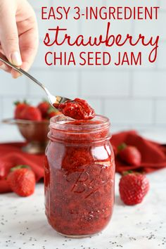This Easy 3-Ingredient Chia Seed Strawberry Jam is the perfect healthy alternative to conventional jam! It's made with 3 healthy, natural, whole-food ingredients and it's quick and easy to make! Recipe from thebusybaker.ca! #healthyjam #chiaseedjam #homemadestrawberryjam