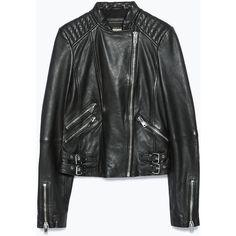 Zara Leather Jacket (2.681.895 IDR) ❤ liked on Polyvore