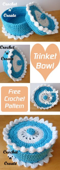 Trinket Bowl free crochet pattern, use for jewellry, clips, slides and knick knacks. #crochet