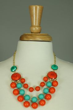 3 STRAND BEADED NECKLACE...Great necklace for your summer wardrobe, thanks to the bright, fun colors!