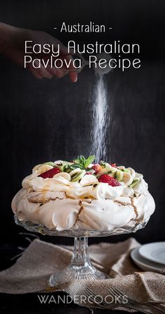 Easy Australian Pavlova Recipe - Summer is calling and it's time to celebrate! This Easy Australian Pavlova Recipe is all about that crunchy, crumbly meringue shell and soft, pillowy marshmallow centre, topped with lashings of sweet cream and. Meringue Desserts, Just Desserts, Delicious Desserts, Dessert Recipes, Yummy Food, Meringue Pavlova, Meringue Food, Trifle Desserts, Dinner Recipes