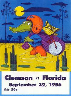 1956 Florida Gators vs Clemson Tigers 36 x 48 Canvas Historic Football Poster