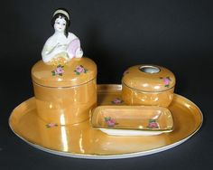 Noritake Nippon Art Deco Lady Figure Jar Set with Tray | eBay