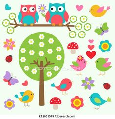 Illustration of Birds and owls in spring forest. Vector set vector art, clipart and stock vectors. Illustrations, Illustration Art, Happy Owl, Owl Clip Art, Spring Forest, Free Vector Art, Coloring Pages, Paper Crafts, Birds