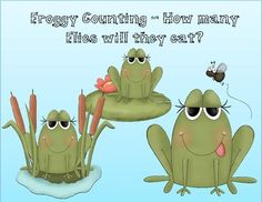 Froggy counting is a simple activity using numbers that includes a color and black line master with frogs and flies. The students count how ma. Counting Activities, Class Activities, Math Resources, Frogs Preschool, Pond Life, Simple Math, Frog And Toad, Teaching Kindergarten, Numbers