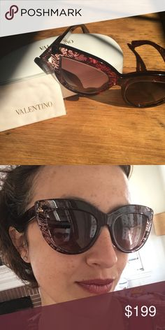 BNWT Valentino sunnies! Get ready for summer with these unique shades! The color goes from transparent through pink through a deep burgundy brown depending on how the light hits them. Beautiful lace pattern. Only taken out of the box briefly for modeling. Come in original case with authenticity card and dust cloth. Made in Italy. Valentino Accessories Sunglasses