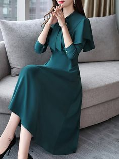 Flash Sale Solid Color Sashes O-Neck Long Sleeves Midi Dresses Summer Gowns, Daily Dress, Straight Dress, Long Sleeve Midi Dress, Saree Dress, English Vocabulary, Leather Jackets, Sheath Dress, Dresses For Sale