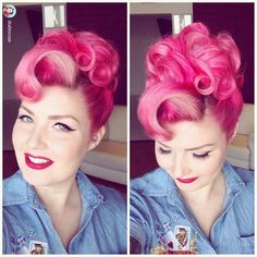 Image in Retro & Vintage Hairstyles collection by Retro Hairstyles, Curled Hairstyles, Wedding Hairstyles, Hairdos, Pin Up Hair, My Hair, Victory Rolls Updo, Rockabilly Hair, Rockabilly Rebel