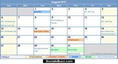 2017 August Calendar  http://socialebuzz.com/august-2017-calendar-printable-template/