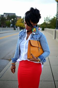 Fall Outfit Idea Red Skirt/ Jean Jacket