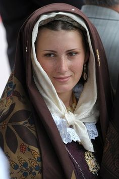Europe | Portrait of a young woman wearing a Traditional Sardinian costume, Sardinia, Italy #kerchief