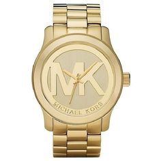 Michael Kors Women's MK5473 Goldtone Boyfriend Logo Watch ($163) ❤ liked on Polyvore featuring jewelry, watches, gold, michael kors watches, stainless steel wrist watch, quartz movement watches, gold tone jewelry and formal jewelry