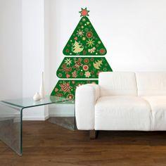 Arbol de Navidad de vinilo para colocar en la pared.