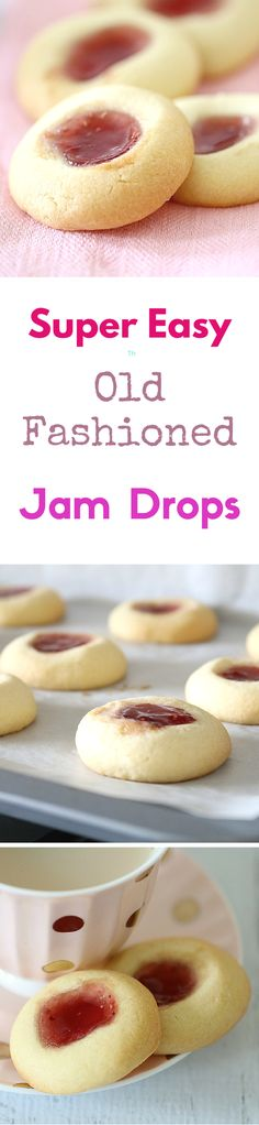 Drops I always used to make these jam drops with my mum when I was little. They're the yummiest things ever!I always used to make these jam drops with my mum when I was little. They're the yummiest things ever! Baking Recipes, Cookie Recipes, Dessert Recipes, Lunch Recipes, Jam Drops Recipe, Weight Watcher Desserts, Tea Cakes, Snacks, Biscuit Recipe