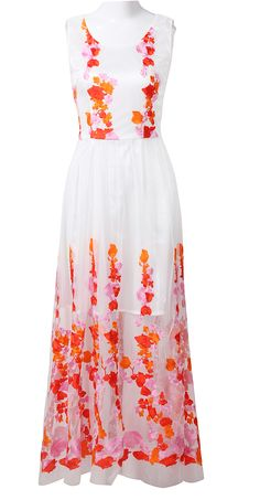 White Sleeveless Embroidered Lace Flowers Maxi Dress