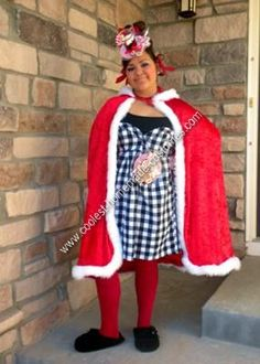Homemade Cindy Lou Who Halloween Costume: The hardest part of this cute Homemade Cindy Lou Who Halloween Costume is finding all the pieces to make it as authentic as possible and still remaining