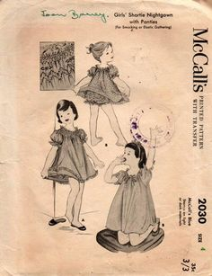 00bf70f32e McCall s 2030 Toddler Girls Shortie Smocked Nightgown with Panties 50s  Vintage Sewing Pattern Size 4