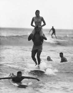 Old Photo of Surfers Hawaii, 1959