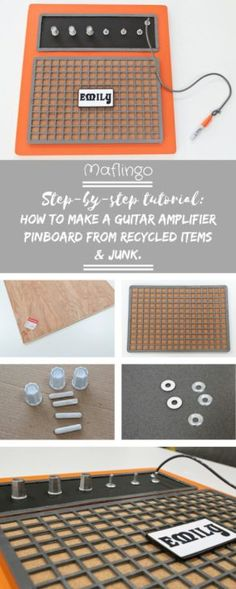 Tutorial: How to make a guitar amplifier pinboard from recycled items and junk. Upcycled Orange Guitar Amplifier Pinboard made from recycled items and Junk. Fun Diy Crafts, Diy Craft Projects, Easy Homemade Gifts, Sewing Accessories, Craft Items, Decorative Items, Diy Home Decor, Recycling, How To Make