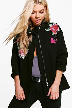 Lucy Boutique Floral Embroidered Utility Jacket | Boohoo