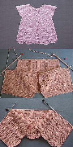 Etekten Başlama Örgü Erkek ve Kız Bebek Yeleği - Easy Knitting Patterns, Knitting For Kids, Crochet For Kids, Knitting Designs, Baby Knitting, Crochet Baby, Knitted Baby, Cardigan Bebe, Baby Cardigan