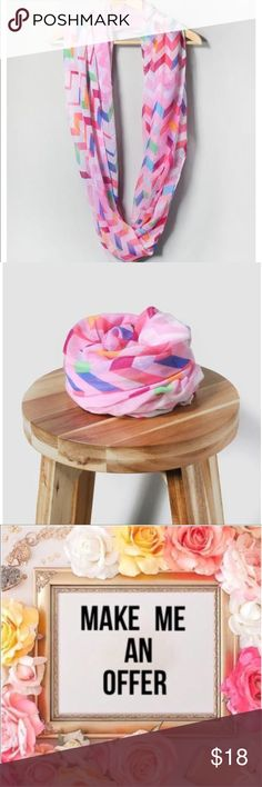 SubmitOffer💕Lightweight PinkChevron InfinityScarf Finish your look with this lightweight infinity scarf with cute chevron design. Perfect for adding bright pops of color your outfit! Accessories Scarves & Wraps