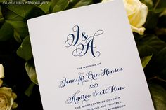 Simple and elegant wedding program in Navy and White by Clementine Ink + Paper  #weddings #paperie #blisschicago