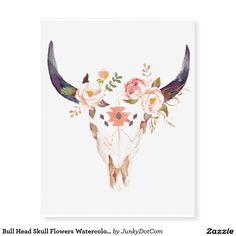 Bull Head Skull Flowers Watercolor Illustration Temporary Tattoos - May 18