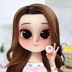 Cartoon, Portrait, Digital Art, Digital Drawing, Digital Painting, Character Design, Drawing, Big Eyes, Cute, Illustration, Art, Girl, Rosanna Pansino, Ro, Baker, Cookie