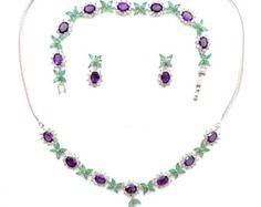 Emeralds, Amethysts, Topaz & White Gold Vermeil Floral Cluster Suffragette Necklet, Earrings & Bracelet Suite.  Edwardian style.