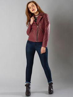 a47eff2e10 Buy FabAlley Maroon Faux Leather Biker Jacket online