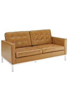 Bateman Leather Loveseat | Brickell Collection • Modern Furniture Store