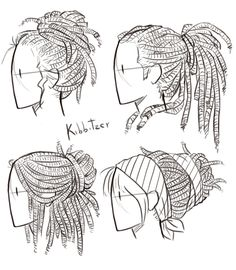 Drawing Anatomy Reference Dreadlocks Reference Sheet by Kibbitzer on DeviantArt - Art Reference Poses, Anatomy Reference, Design Reference, Drawing Reference, Kissing Reference, Hand Reference, Drawing Techniques, Drawing Tips, Drawing Sketches