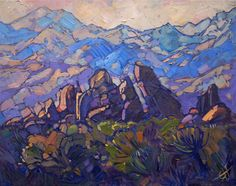 Joshua Tree rocks and blue mountains, painted in oils by California impressionist Erin Hanson